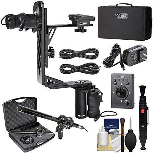 Vidpro MH-430 Professional Motorized Pan & Tilt Gimbal Head with 2 Geared Motors, Joystick Remote Control, Cables & Case + Broadcast Microphone + Kit