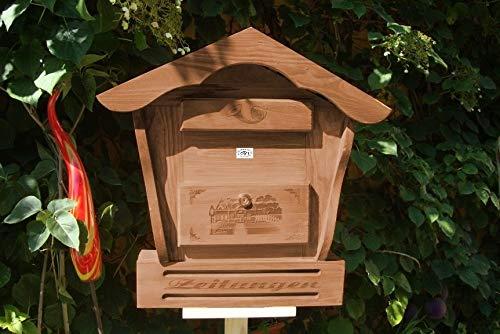 Briefkasten mit Holz - Deko HBK-SD-DUNKELBRAUN aus Holz dunkelbraun Teak Look Briefkästen HolzBriefkasten mit Holz - Deko HBK-SD teak Postkasten Spitzdach