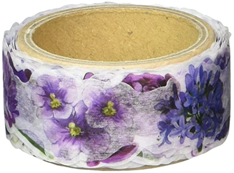 Roundtop Designer's Washi Masking Tape 20mm x 5m, Yano Design Series Flowers for Collage, Purple (YD-MK-044)