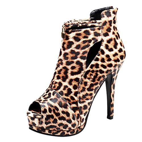 Zapatos de Tacón Alto Aguja Plataforma Fiesta para Mujer Invierno Primavera 2019 PAOLIAN Botines Vestir Zapatos Cuña Elegantes Zapatos de Boca de Pescado Animal Print Leopardo Tallas Grandes