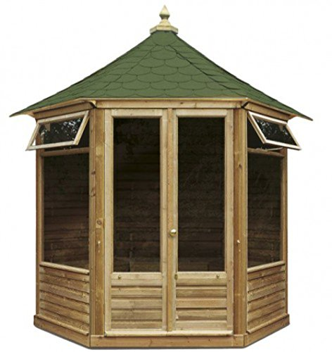 G&C Victorian – zeshoekig tuinhuis van hout met dubbele deuren en ramen (240x 208 x h 295 cm)