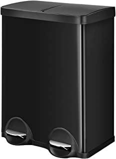 Rectangle Hand Free Dual Compartment Rubbish Bin Stainless Steel Trash Can w/Foot Pedal Plastic Flip-Top Lids Shiny Black ...