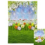 Allenjoy 5x7ft Durable Fabric Easter Backdrop Spring Flowers Green Grass Fence Eggs Bokeh Sky Photography Background Baby Kid Children Portrait Floral Party Decoration Photo Booth Studio Props