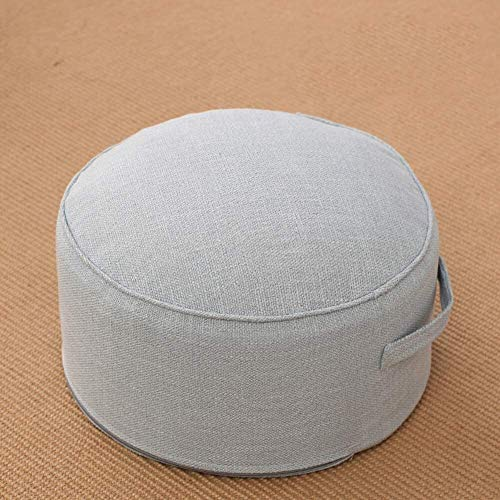 WHZG Chair Pad Linen Thicken Cushion,Footstool Tatami Futon Round Floor Pillow Comfortable Bench Cushion Carry Handle Chair Cushion (Color : Sky Blue, Size : 40x40x22cm(16x16x9))
