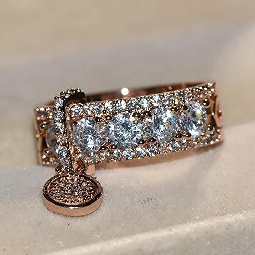 SUNMM Exquisite Charmante Zirkon Ring Vintage Rotgold Gefüllt Diamantring Weiblichen Modeschmuck, 7, Rotgold