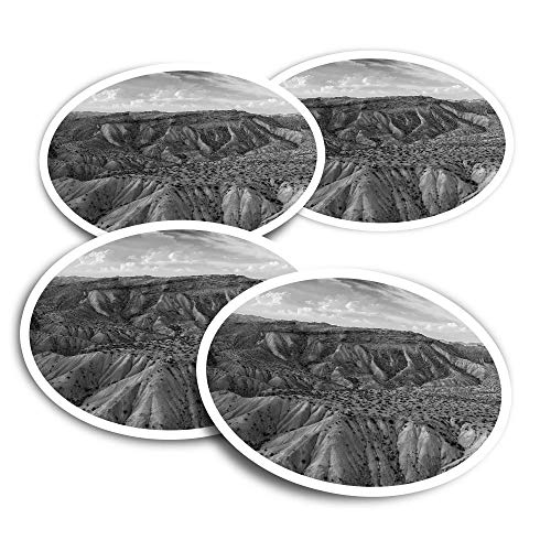 Vinyl Stickers (Set of 4) 10cm - BW - Sierra Alhamilla Mountains Spain Travel Fun Decals for Laptops,Tablets,Luggage,Scrap Booking,Fridges #43525