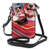 Hamaca para perro rosa teléfono Terrier Beach Sunglass moda pequeño teléfono celular monedero multiusos bolsa de hombro cartera