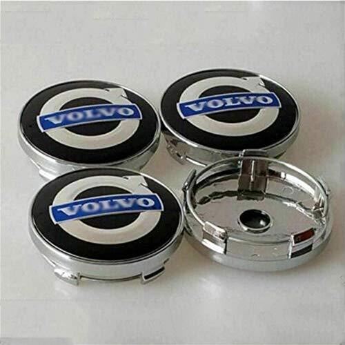 4PCS 60mm Metall Auto Rad Radnabenkappen Rad-Mittelkappen-Abzeichen-Logo für V-olvo S40S60L S80L XC60 XC90,Black Blue