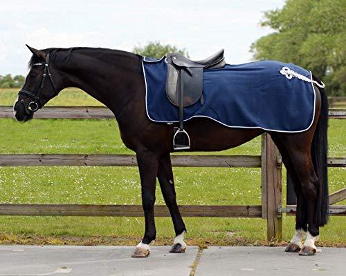 QHP Nierendecke Fleece-Ausreitdecke Ornament Fleecedecke Sattelausschnitt hinten mit Ornament in Silber (blau, M)