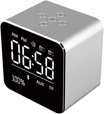 Altoparlanti portatili 2019 Square Mirror Mini Altoparlante Bluetooth Multifunzione Alarm Clock TF Card Cavo audio USB Display Wireless Speaker Multicolor (Color : Silver) - Trova i prezzi più bassi