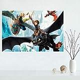 YFKSLAY Cómo Entrenar a tu dragón Decoración de la Pared Pegatina Puerta Decoración del hogar Arte de la Pared Regalo Niños Interior PVC 50X75Cm