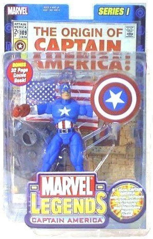 Marvel Series 1 the Original Captain America Marvel Legends with Bonus 32 Page Comic Book by toy biz