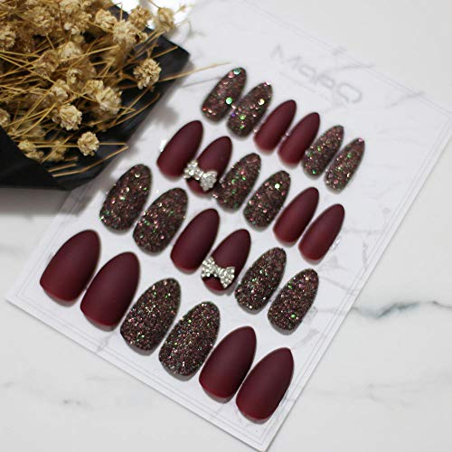 CSCH Faux ongles Matte Glitter MIX DIY nail Stiletto coffee False nail Burgundy wedding Nails Butterfly gold 3D bowknot flowers 24pcs full set