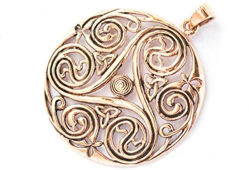 Windalf Großes Celtic Irisch Silber-Amulett DANU Ø 4.9 cm Skandinavischer Schmuck Triskele Nordische Lebens-Spiralen Bohemian Bronze