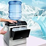 VBARV 2 in 1 Ice Maker with Water Dispenser, 40lbs Daily-Ice Cubes Ready in 8 Minutes, Portable Water Cooler Counter Top Ice Making Machine with Ice Scoop