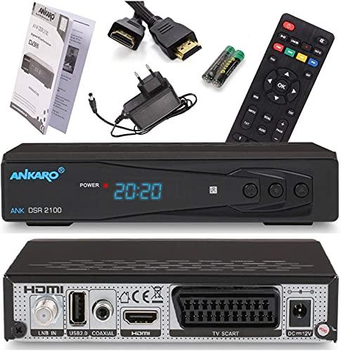 Ankaro 2100 DSR Sat Receiver - HD Satelliten Receiver mit USB Mediaplayer Funktion, DVB-S/S2 Receiver für Satellit, HDMI, USB, SCART, UNICABLE, Astra & Hotbird vorinstalliert + Anadol HDMI Kabel