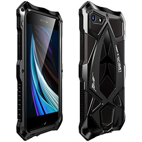 MOSSTAR Funda para iPhone SE 2020/iPhone 8/iPhone 7,360 grados, carcasa de silicona resistente a los golpes, carcasa híbrida de metal, carcasa protectora completa, color negro