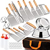 LeonYo Griddle Accessories Set of 36, Heavy Duty Stainless Steel Grill Griddle Metal Spatula for Cast Iron Flat Top Teppanyaki Hibachi Hamburger Cooking, Carry Bag, Chef Gift, Melting Dome, S Hook
