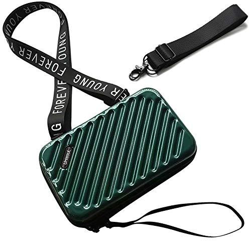 Handy Umhängetasche - Mode Damen Schultertasche Klein Geldbörse Crossbody Handtasche - Hart ABS+pc Kofferform mit Verstellbar Abnehmbar Schultergurt für Handy unter 6.5 Zoll (Dunkelgrün)