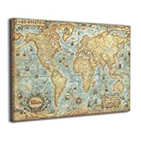 Ale-art ヴィンテージ風 世界地図 アートパネル 40cm*50cm ポスター 絵画 壁掛け インテリア 風景 キャンバス絵画 バスルーム ダイニングルーム 装飾