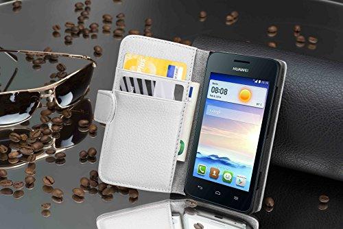 Cadorabo Hülle für Huawei Ascend Y330 - Hülle in Magnesium WEIß – Handyhülle mit Kartenfach aus struktriertem Kunstleder - Case Cover Schutzhülle Etui Tasche Book Klapp Style - 3
