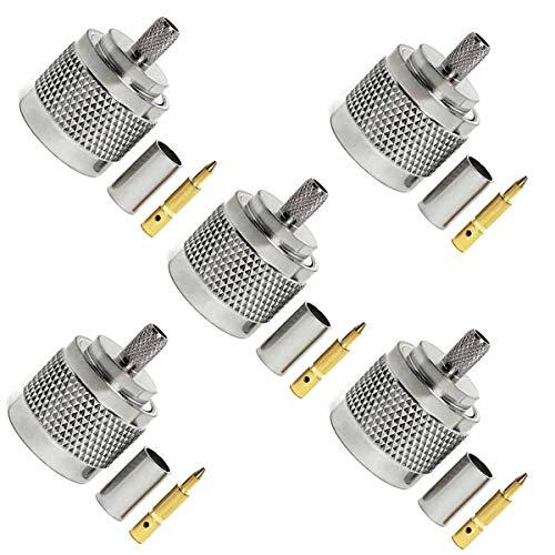 Conector N Macho Rg58 5 Piezas,Kagni Conector Coaxial Tipo N para RG58 LMR195 LMR200 RG223 RG142, Cuerpo de Latón, Pin Chapado en Oro