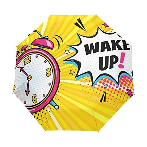 JinDoDo Paraguas automático plegable rosa reloj despertador paraguas lluvia viento protector solar viaje para mujeres hombres niñas niños