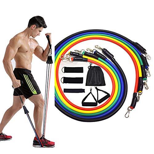 NBCDY 11 PCS Widerstandsbänder Set, Übungsbänder mit Türanker, Griffe, wasserdichte Tragetasche, für Training, Physiotherapie, Heimtraining, Yoga, Pilates