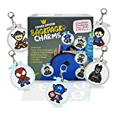 5 Stamped Superhero Cross Stitch Beginner Projects for Kids Needlepoint Starter kit Sewing Set for Backpack Charms…