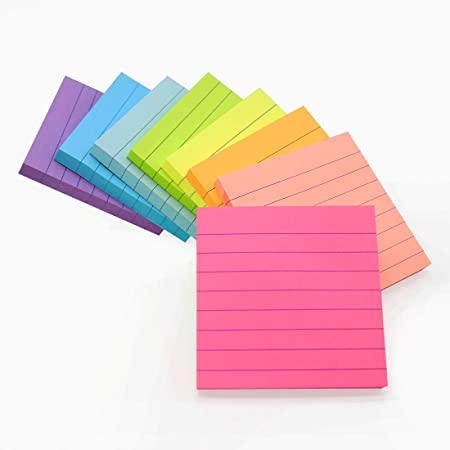 """4/"""" x 6/"""" Self-stick Pad Details about  /8-Pack Lined Sticky Notes in Bright Neon Colors"""