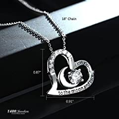 "T400 Jewelers Sterling Silver Necklace I Love You to The Moon and Back Zirconia Heart Pendant Birthday Gifts for Women,18"" Chain #4"