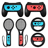 LiNKFOR Accesorios de Joy-Con 2PCS Grip para Mando 2PCS Raqueta de tenis 2 PCS Volantes Accesorios para Switch 3 en 1 Compatible con Switch Mario Kart Racing - Negro