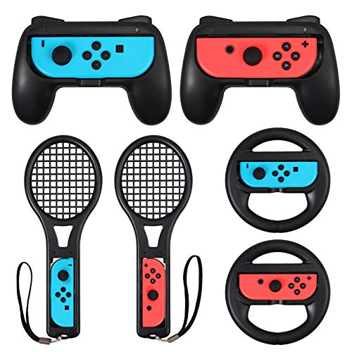 LiNKFOR 3 In 1 Kit per Nintendo Switch 2 Grip Impugnature 2 Racchette da Tennis e 2 Volanti Kit di Switch Controller per Joycon Accessori per Gioco di Mario Tennis Aces - Nero