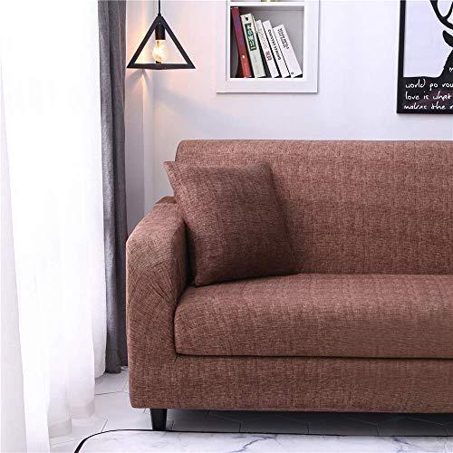 ZHBH Funda de sofá elástica de tela elástica de color marrón oscuro para sillón, sofá o sofá – Funda protectora de sofá con 1 funda de almohada