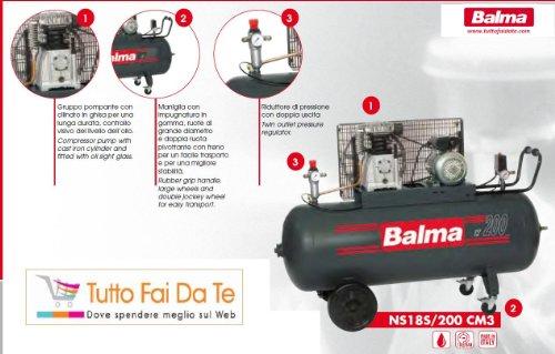 compressore balma bicilindrici con serbatoio da lt.200