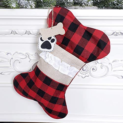 MEKO Knochenform Weihnachtsstrumpf, Groß Weihnachtssocken für Hunde und und Haustiere Weihnachtsdekoration zum Aufhängen Weihnachtsbaum Anhänger