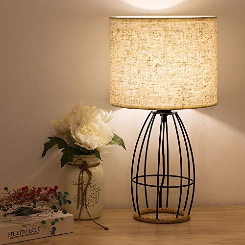Lámpara de mesilla de noche decorativa - Lámpara de mesilla de noche ahuecada elegante, base moderna de metal cromado con lámparas de pantalla de tela de lino para - Negro