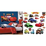 RoomMates Disney Pixar Cars Lightening McQueen Peel and Stick Giant Wall Decal and RoomMates Disney Pixar Cars - Piston Cup Champs Peel and Stick Wall Decal
