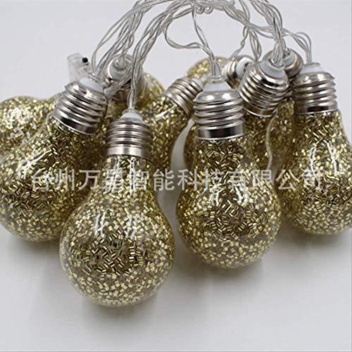 CFLFDC Kandelaar, 10 lampen, goudkleurig en zilverkleurig, grote batterijketting, 1,5 m, 10 licht positief, wit