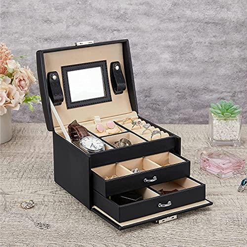 BBGSFDC Scatola di stoccaggio Scatola di gioielli in cuoio a 3 strati PU Scatola di immagazzinaggio di gioielli in pelle con specchio e blocco Tipo di cassetto usato for immagazzinare anelli bracciale