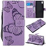 Sangrl PU-Leder Hülle Für Sony Xperia XA1, 3D Butterfly Flip Schale Brieftasche Mit Bracket-Funktion Kartenfächer Wallet Hülle Tasche Für Sony Xperia Z6 - Lila