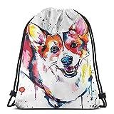 ERTERT Pintura al óleo Keki Dog Drawstring Bag Mochila de cuerda resistente al agua Bolsa de gimnasio portátil duradera Paquete de cincha de poliéster suave para niños Trabajadores Campistas Deportis
