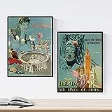 Nacnic Posters Vintage. Posters Publicidad del Mundo. Dos láminas Vintage de España. Tamaño A3 con Marco