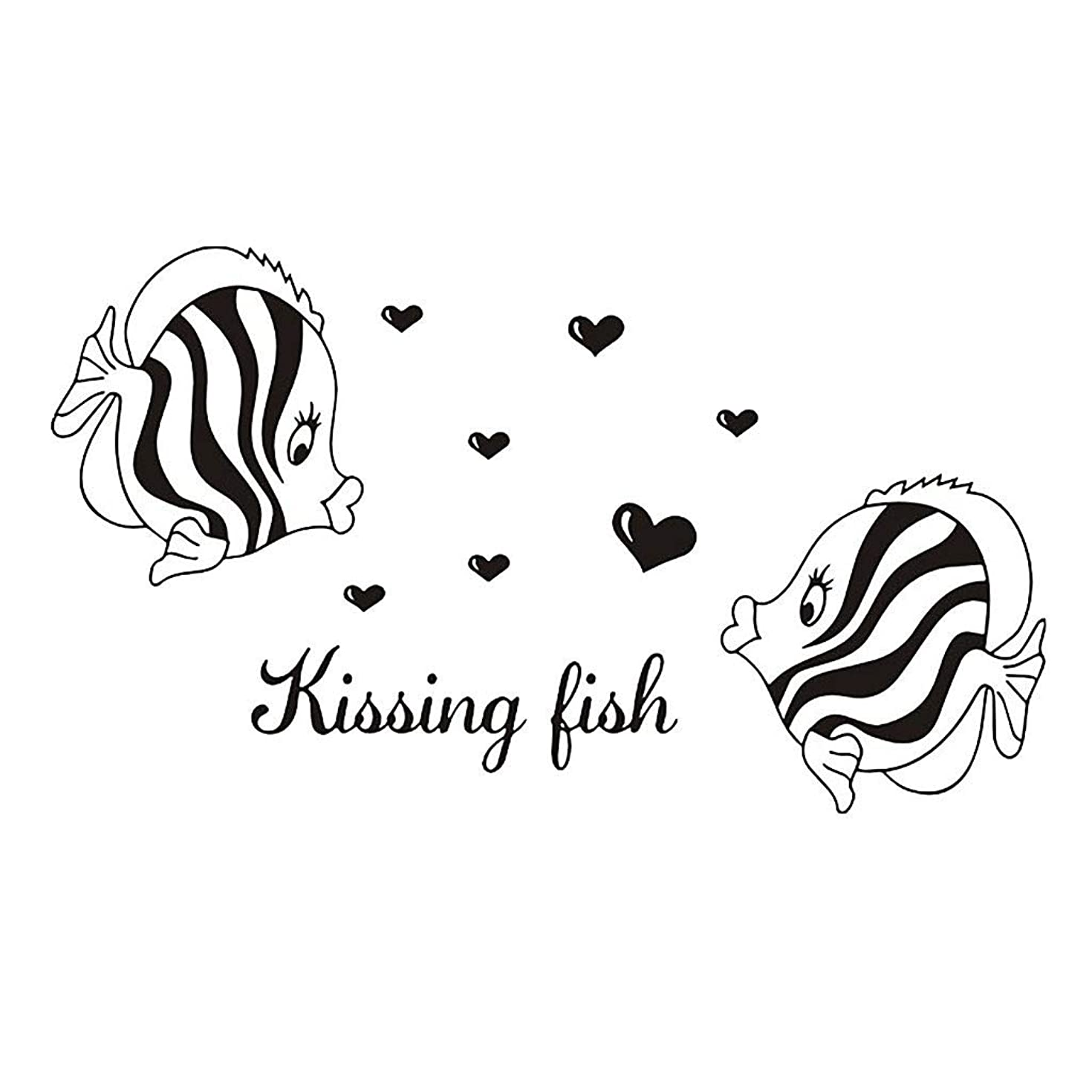 Yamart Wall Stickers Kissing Fish Wall Sticker PVC Decal Home Bedroom Living Room TV Setting Wall Sticker Romance Home Decoration 33x43cm