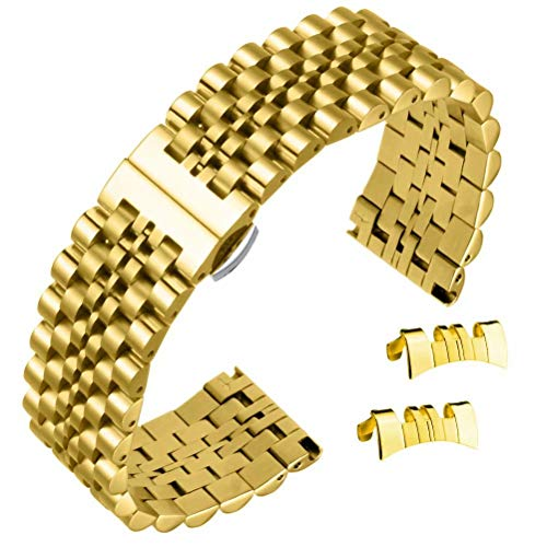 De 20 mm de Alta Gama Correas de Banda de Reloj de Lujo Popular de Estilo Jubileo reemplazos de Acero Inoxidable 316L en Oro