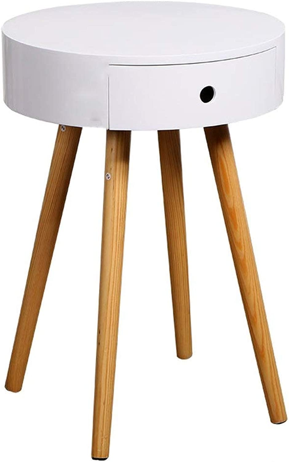 Nordic Wind Bedside Table Simple Solid Wood Leg Bedroom Storage Table Side with Drawers White
