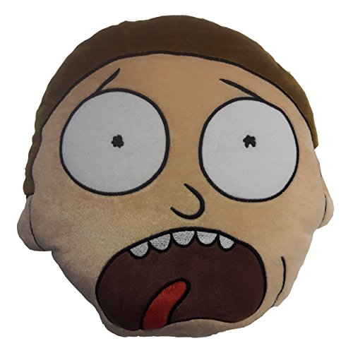 Rick and Morty ' Morty' Embroidered Plush Cushion, Polyester, Multi-Colour, 32 x 8 x 32 cm