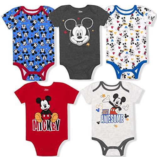 Disney Boy's 5-Pack Mickey Mouse Short Sleeve Bodysuit Onesies, Multi-Color, 12 Months Blue