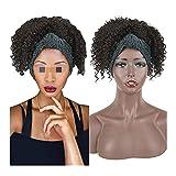XXYHYQHJD Carrera Afro Puff Ponytail con Headwrap Synthetic 2in1 Corta Afro Kinky Curly Cailla de Caballo con Turbante Rizado Pelucas para Mujer (Color : Negro, Size : 12inches)