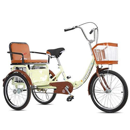 ZFF Triciclo per Adulti A Pedalata Assistita con Cestino della Spesa E Sedile Posteriore 20 Pollici Bicicletta A 3 Ruote velocità Singola per Gli Anziani (Color : Beige)